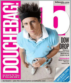"9/15/08 ""Douchebag!"" headline in The Baltimore Sun's free tabloid"