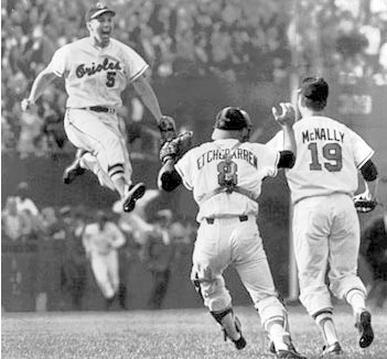 Brooks Robinson and his Baltimore Orioles teammates.