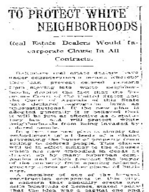 After Baltimore's segregation law was invalidated in 1917, segregation became part of the standard real estate contract. (Maryland ACLU)