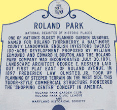 The Roland Park historical marker sign.