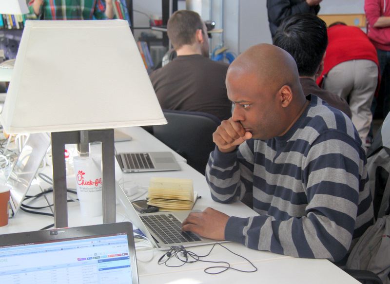 Developer Bryan Liles at Civic Hack Day in Baltimore.