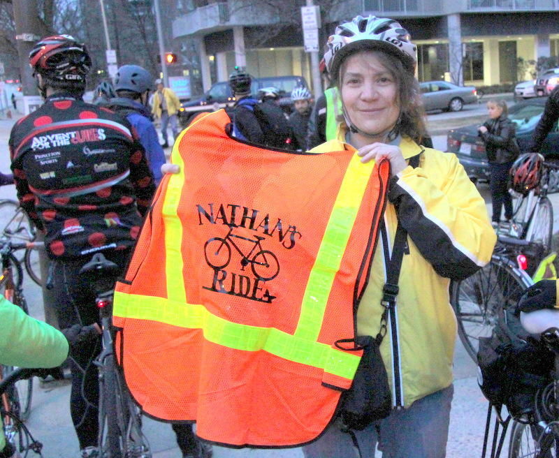 Penny Troutner, during a February ride in honor of a bicyclist fatally injured on a city bike lane. (Photo by Fern Shen