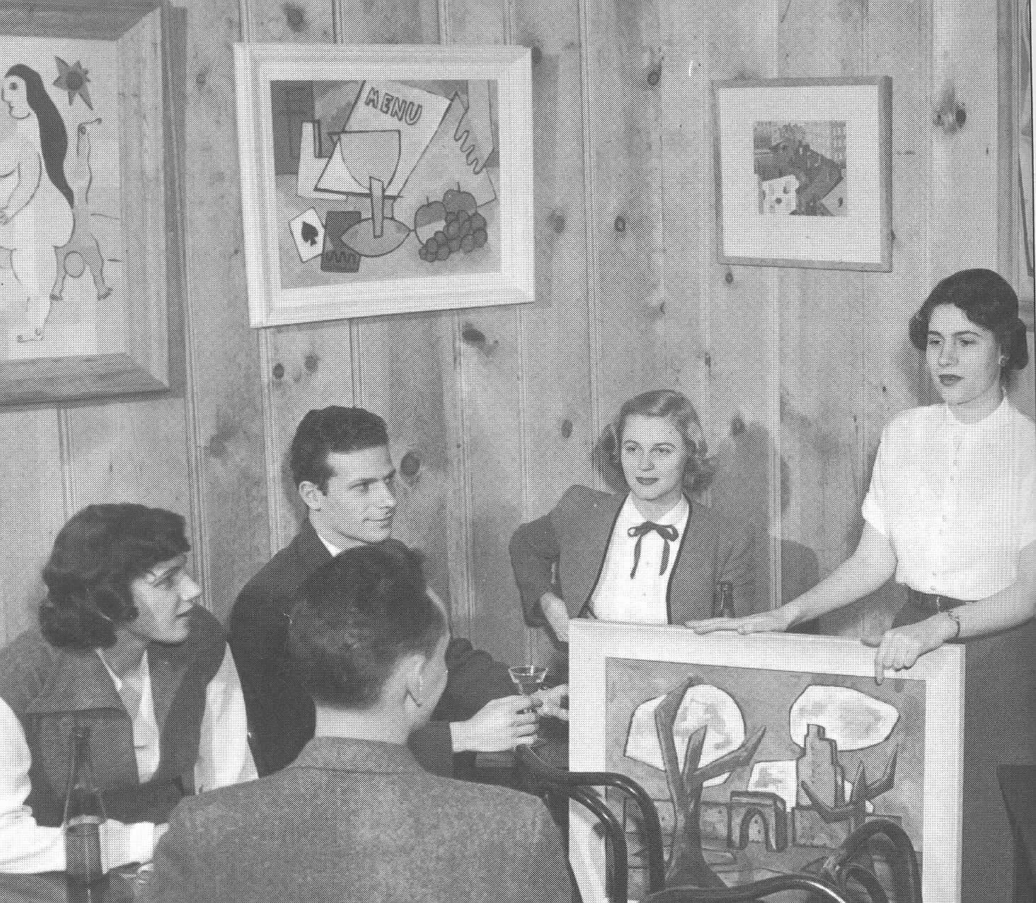 Morris Martick (second from left in rear) at a symposium on modern art at his tavern in the early 1950s. (Courtesy of Enoch Pratt Library Maryland Room)