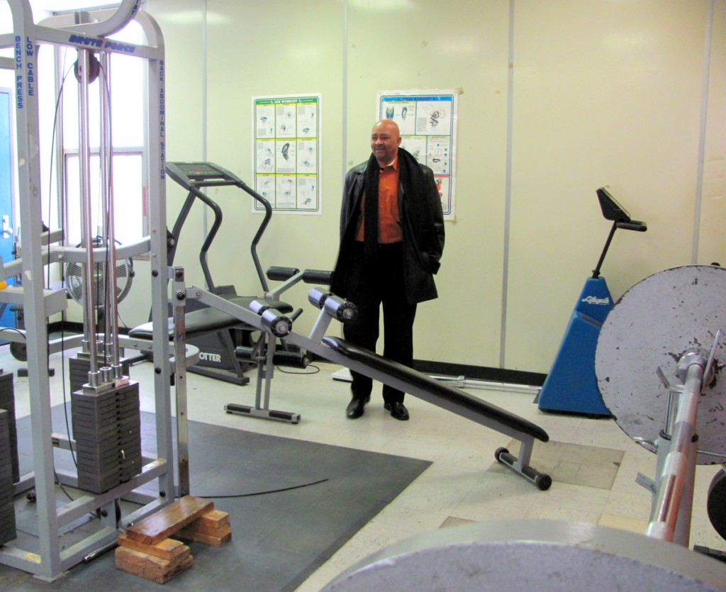 Bill Tyler inspecting the weight room at the Greenmount center. (Photo by Mark Reutter)