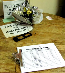 The sign-up sheet at the Greenmount Rec Center visited by Tyler, with The Brew in tow. (Photo by Mark Reutter)