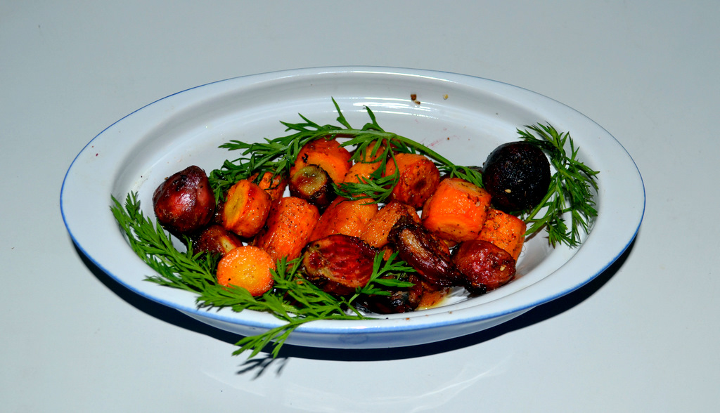 Roasted baby beets and carrots. (Photo by Francine Halvorsen)