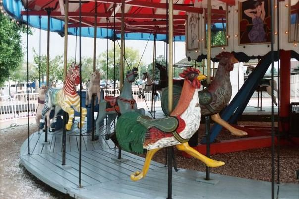 The heroic rooster at Baltimore's carousel in the Inner harbor. (Photo from Facebook)