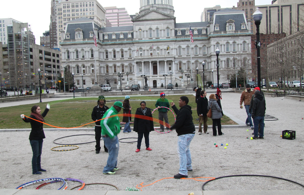 At War Memorial Plaza, jump rope and juggling were meant to highlight the importance of rec centers for city kids to play. (Photo by Fern Shen)