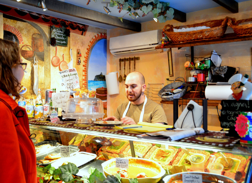 Joey Salvatore behind the counter at Daniela's. (Photo by Francine Halvorsen)