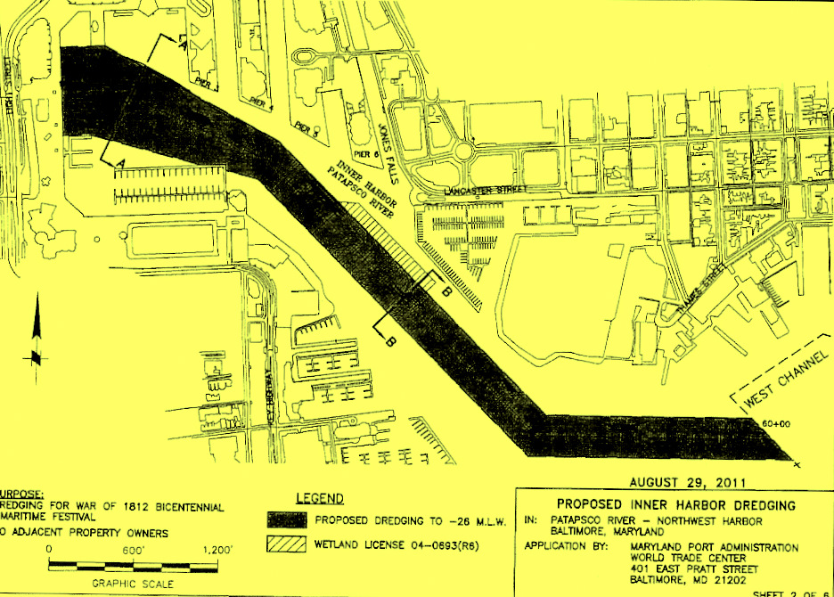 Map showing the 26-foot-deep channel needed to fit 25 or so ships into the Inner Harbor in early June. (U.S. Army Corps. of Engineers, Baltimore District)