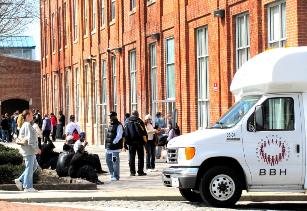 Clients outside of the Baltimore Behavorial Health (BBH) facility, adjacent to the new UM methodone clinic, earlier today. (Photo by Mark Reutter)