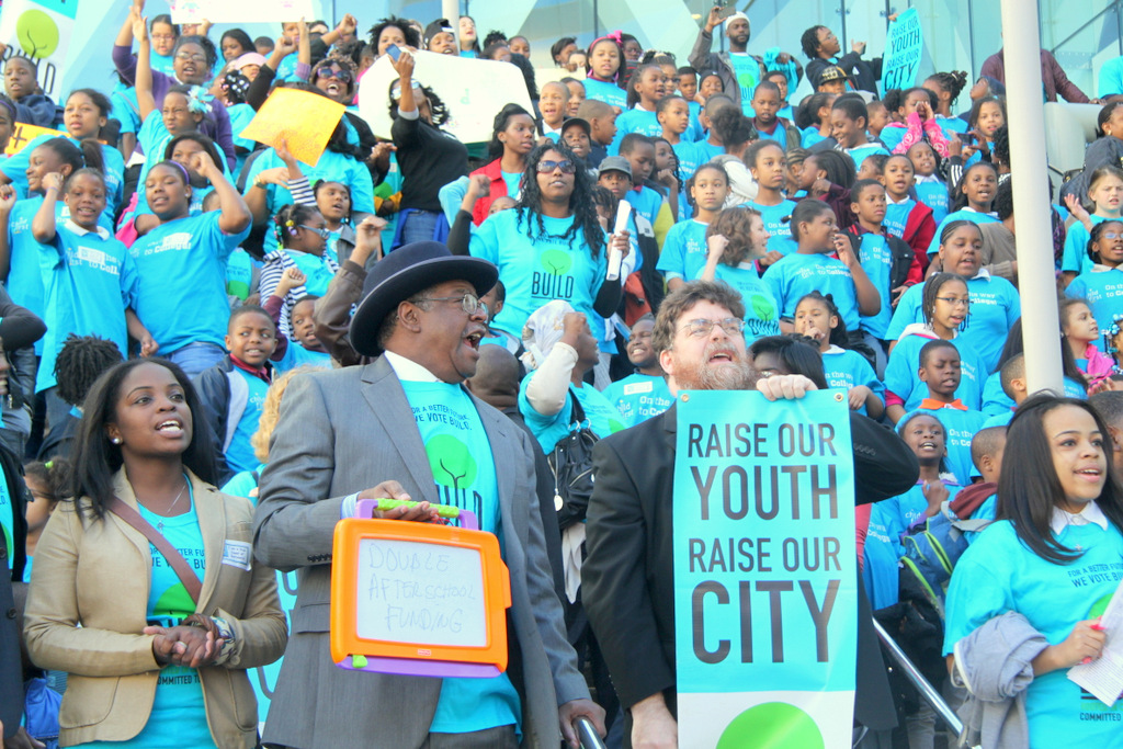 The BUILD protest against after-school cuts took place at the Baltimore Convention Center. (Photo by Fern Shen)
