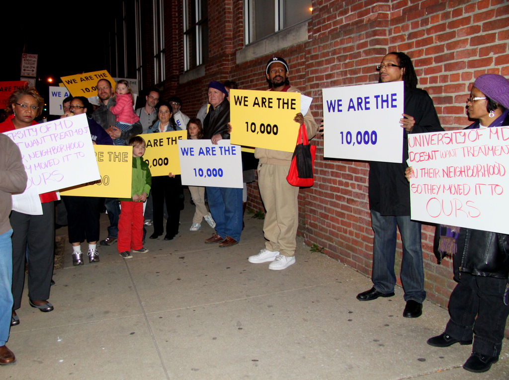 Southwest Baltimore residents protest the recent doubling of the number of substance abusers in local treatment programs. (Photo by Fern Shen)
