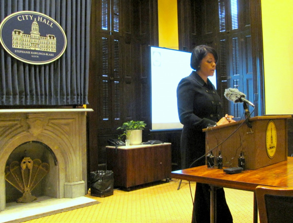 Mayor Rawlings-Blake at yesterday's budget press briefing. (Photo by Mark Reutter)