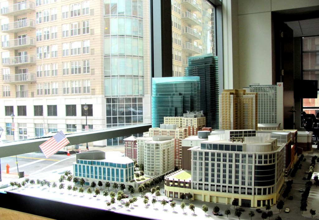 Scale model of Harbor East with the real McCoy in the background. (Photo by Mark Reutter)