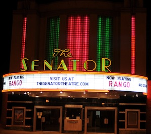 The Senator's marquee at night
