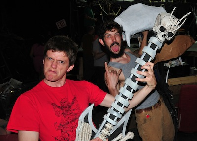 The Baltimore Rock Opera Society's Dylan Koehler plays an awesome air guitar while John Marra eggs him on.