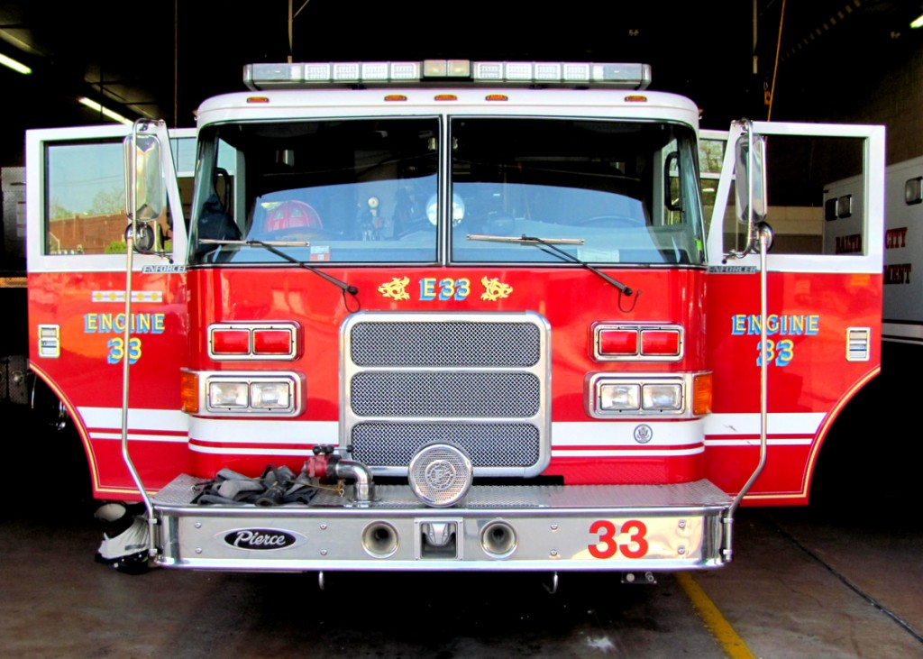 Engine 33 would be transferred to the Montford firehouse under the city's cost-saving plan. (Photo by Mark Reutter)
