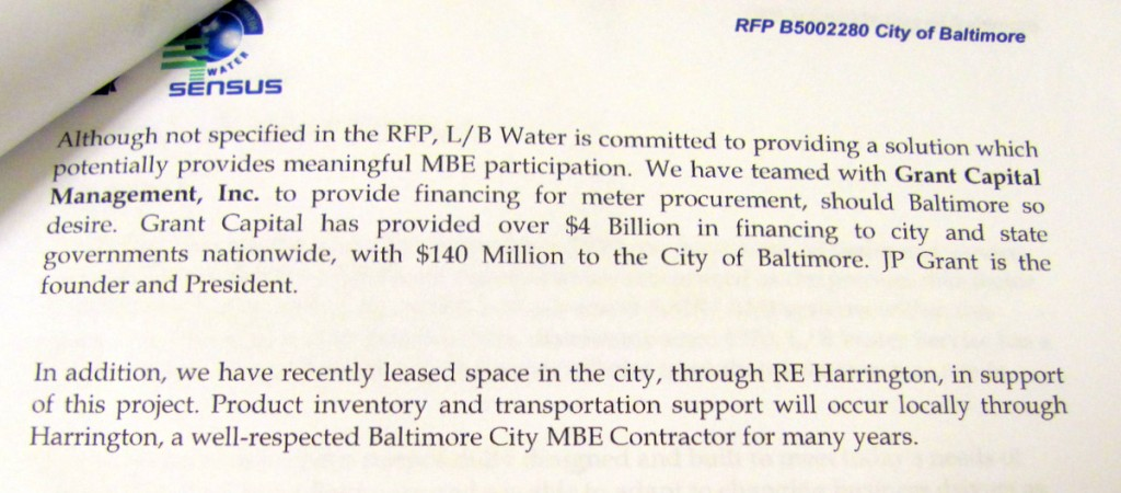 L/B Water's bid letter explained its interest in partnering with Grant Capital and R. E. Harrington to promote minority participation. (From bid document, City Comptroller's Office)
