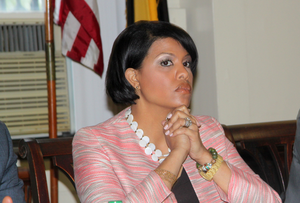 Mayor Stephanie Rawlings-Blake listened to speakers criticize the 2013 Baltimore city budget. (Photo by Fern Shen)