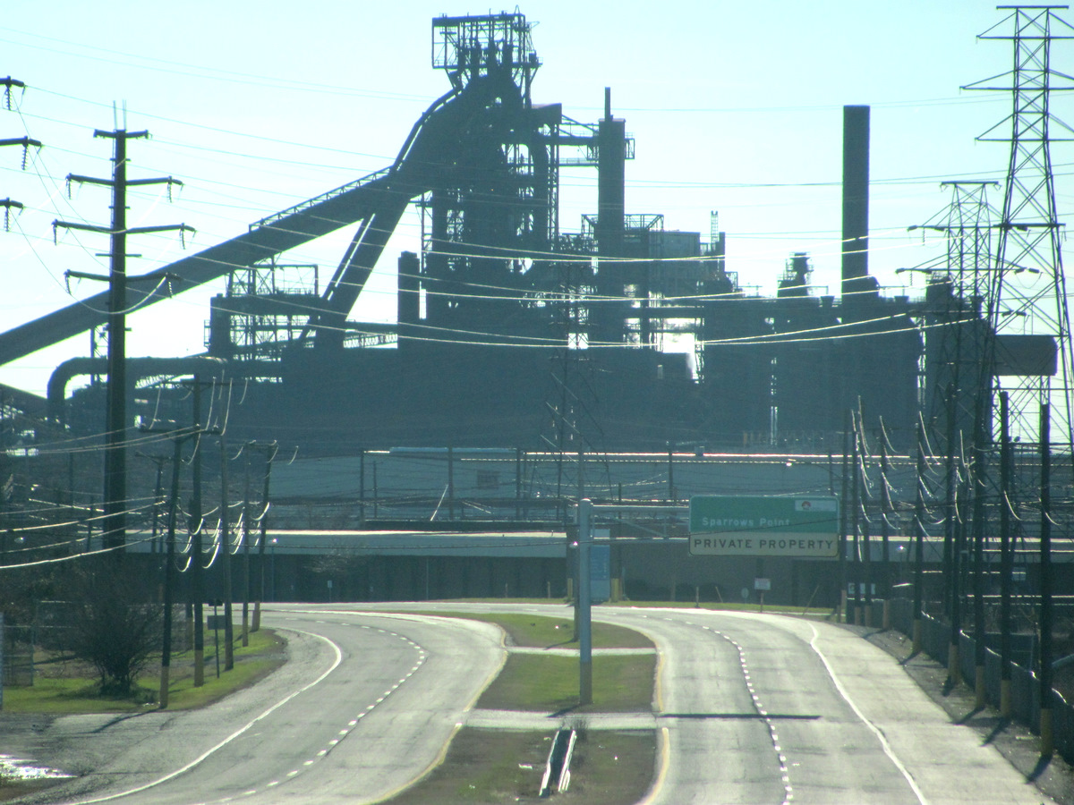 Entrance to Sparrows Point mill, with L furnace in background.