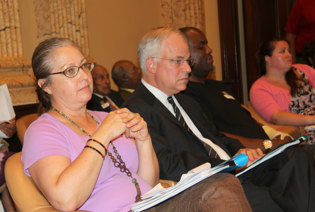 Mary Alice Ernish and Neal Friedlander, two speakers who testified on behalf of more frequent auditing. (Photo by Fern Shen