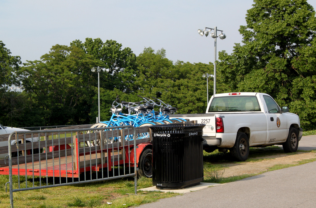 How the city brings the bikes to the parks. (Photo by Ben Halvorsen)
