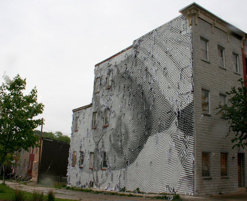 Lex and Sten's work on Barclay Street, viewed from a distance. (Photo by Ben Halvorsen)
