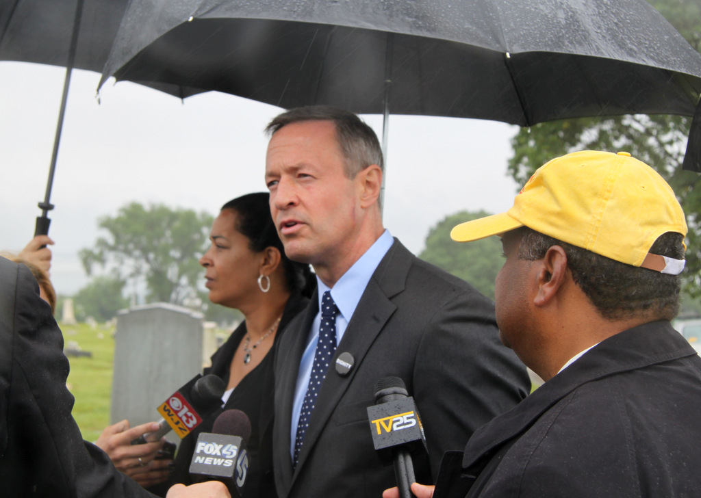 Gov. Martin O'Malley atthe rededication of Mt. Auburn Cemetery. (Photo by Ben Halvorsen)