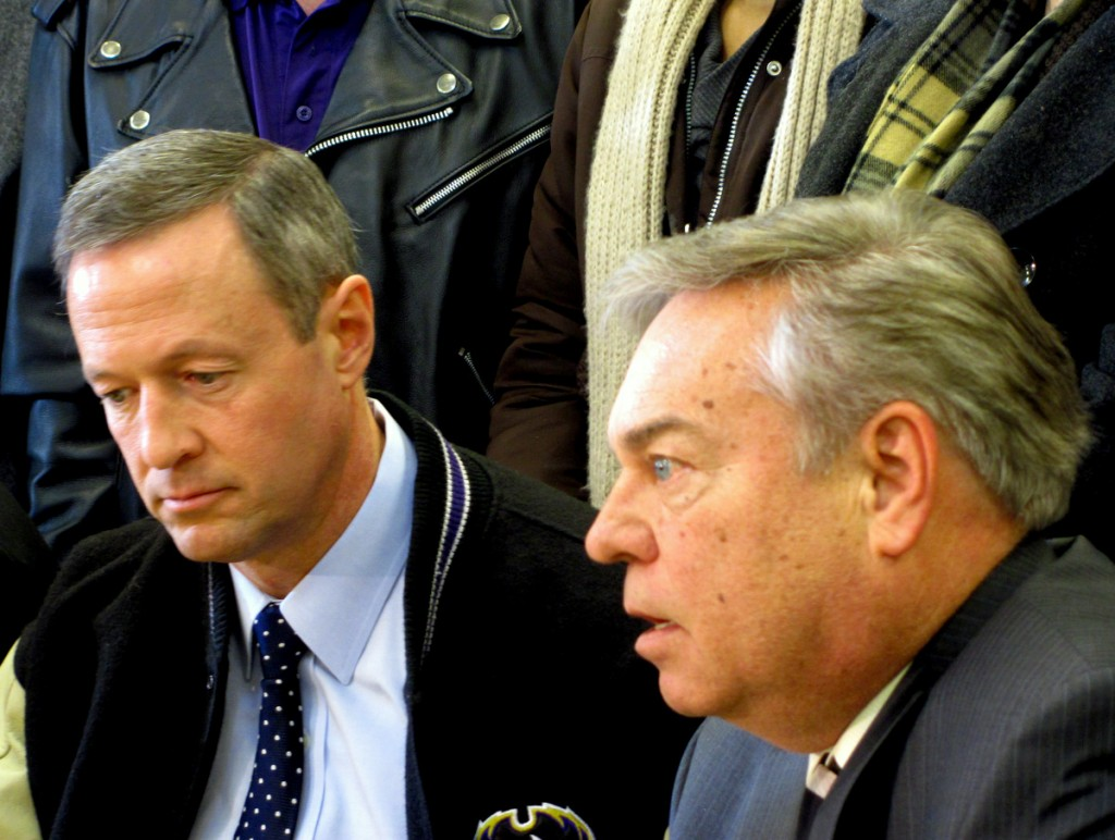 Gov. O'Malley at January press conference with RG Steel's John Goodwin announcing cash infusion into Sparrows Point. (Photo by Mark Reutter)