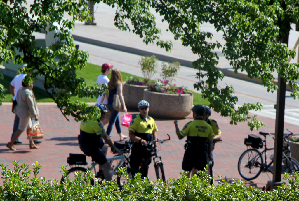 Baltimore police at Harborplace yesterday. (Photo by Fern Shen)