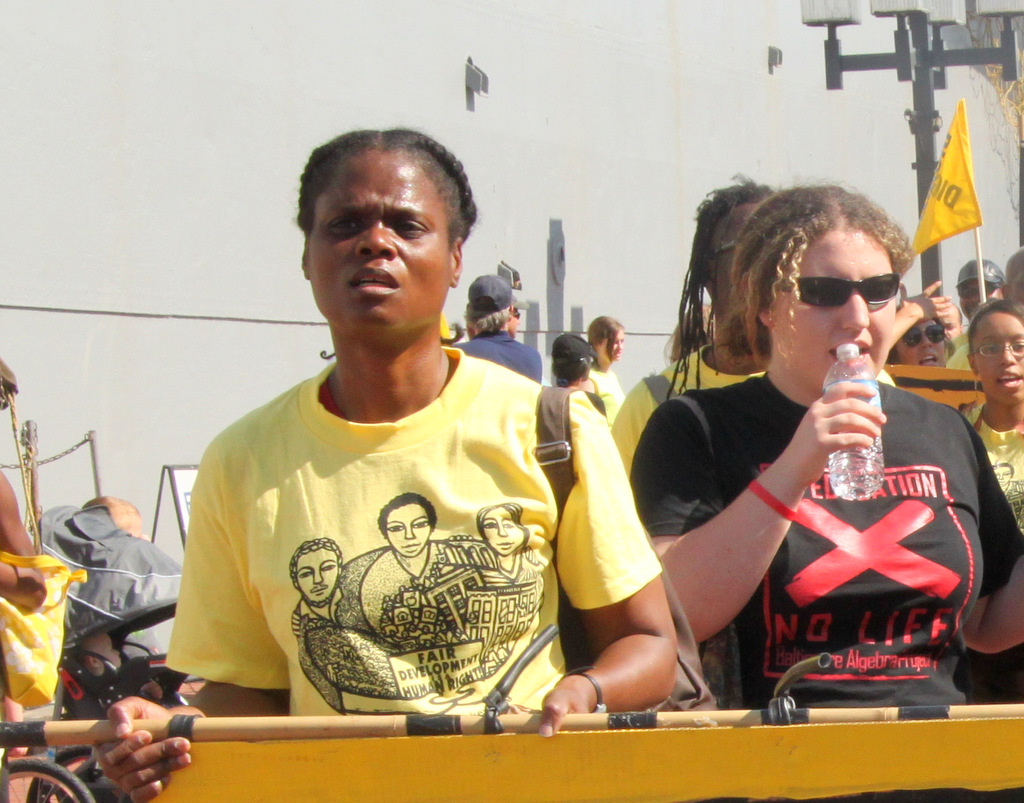 The group marched four miles, largely through impoverished West Baltimore, on their way to the Harbor. (Photo by Fern Shen