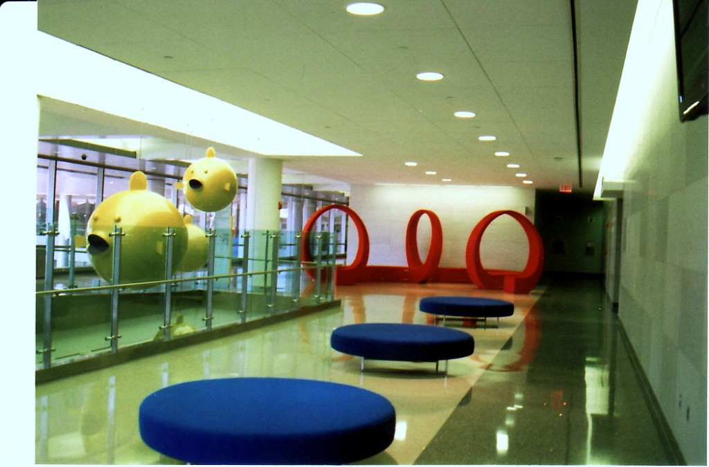 Children's Center lobby with puffer fish sculptures by Robert Israel. (Photo by James D. Dilts)