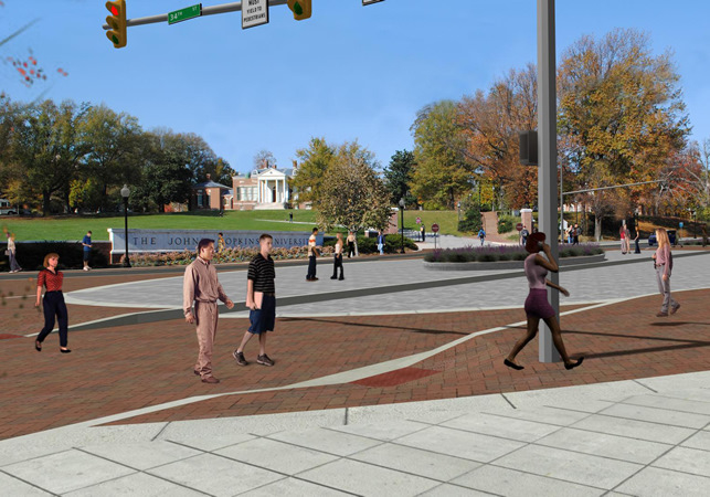 An artist's rendering of the new Charles St. at 34th St. – at the entrance to Johns Hopkins University – and a photo of the site today. (Baltimore DOT and Mark Reutter)
