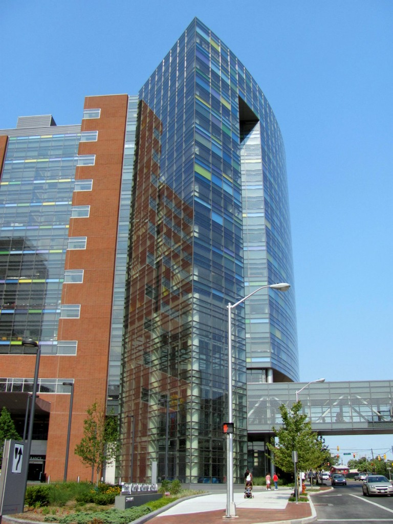 View from Orleans Street of Children's Center glass tower. (Photo by Mark Reutter)