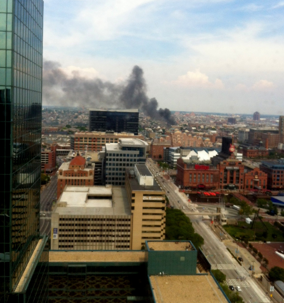 This photo of smoke rising from the Fells Point fire was taken from the Inner Harbor. (Photo by Aaron Meisner)