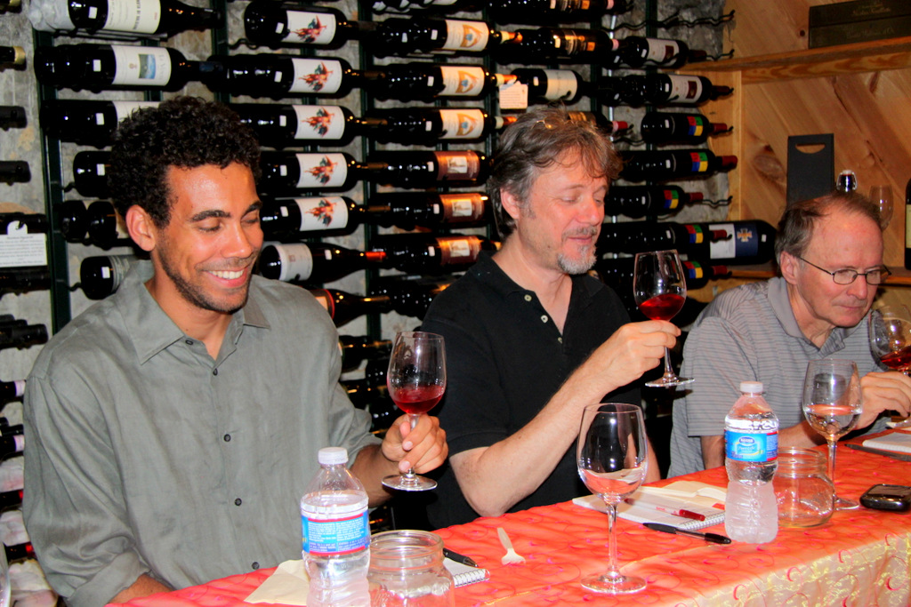 Zach Chisell, Ricky Lawner and Michael Hill: looking for a rosé to surprise them. (Photo by Fern Shen)