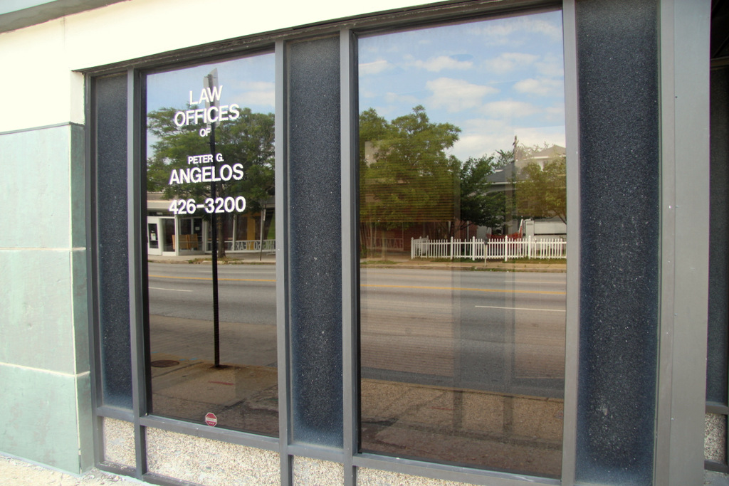 Peter Angelos' name is still prominent on a front door at 5901 Harford Road, even though he hasn't had an office there in years.
