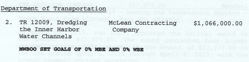The Board of Estimate's approval of the original McLean dredging contract last February, and (below) the EWO awarded on the same contract on Wednesday. (Downloaded by The Brew)