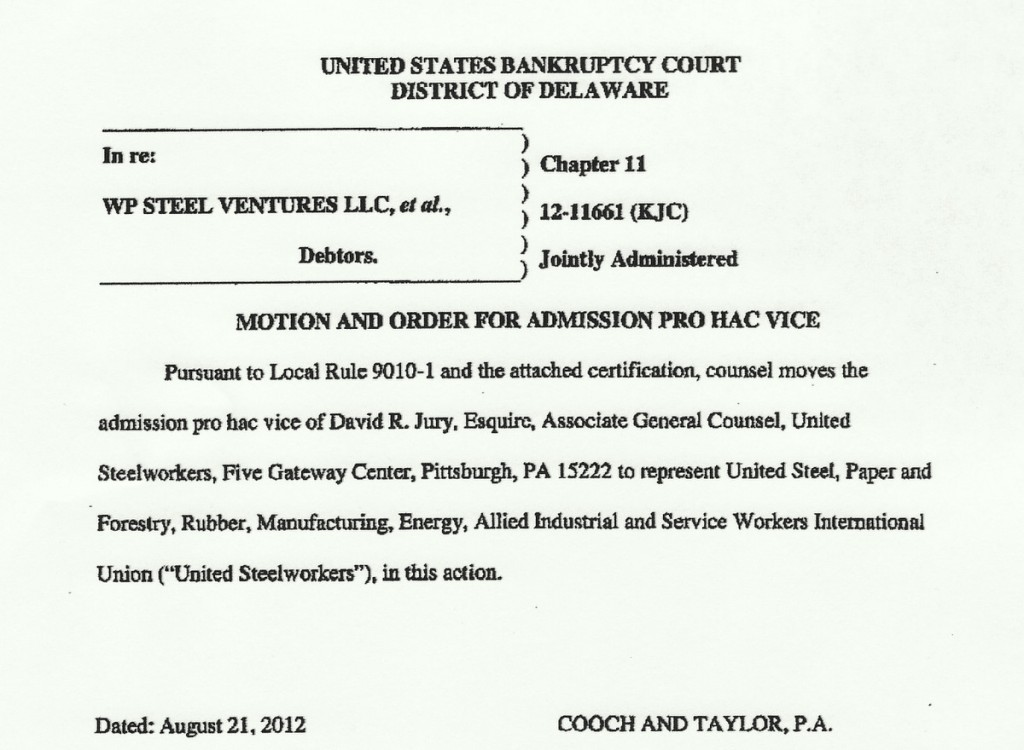 Twelve weeks after RG Steel's bankruptcy filing, USW lawyer requests entry into the case. (Downloaded from court docket)