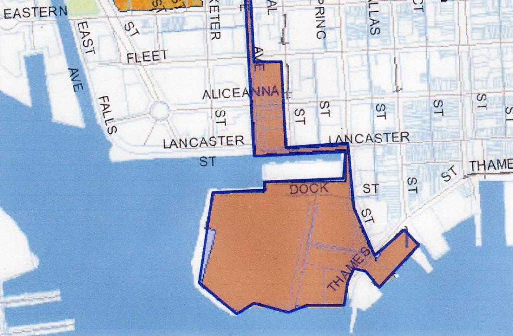 In addition to the Harbor Point peninsula, Paterakis seeks an enterprise zone designation for property he owns along the Thames Street waterfront in Fells Point and land east of Central Ave. between Lancaster and Fleet streets owned by his H&S Bakery group. (Harbor East Development Group)