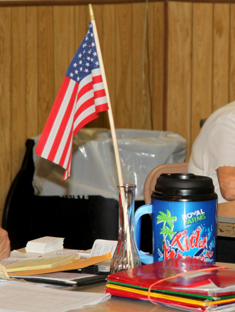 Treasurer Keith Bunner, a former Royal Farms store manager, placed a large Royal Farms beverage mug prominently on the table in front of him.