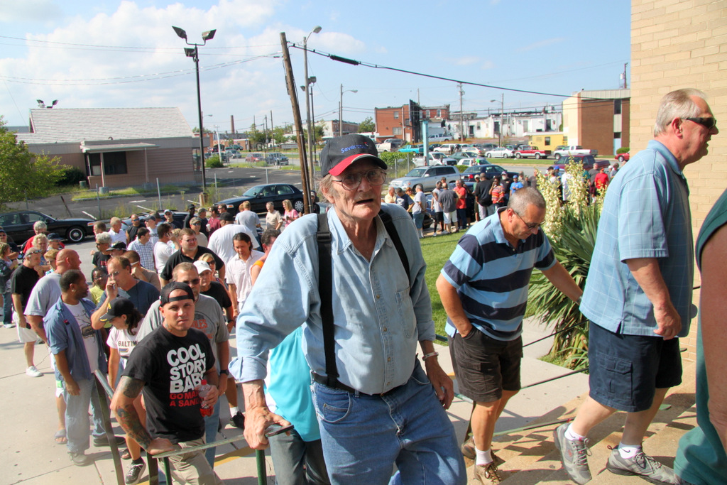 More than 1,000 Sparrows Point workers thronged the union hall today.