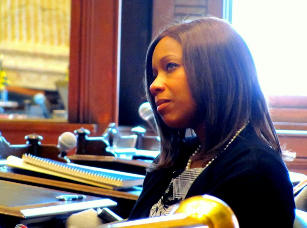 Lisa Harris Jones listens to the testimony. (Photo by Mark Reutter)