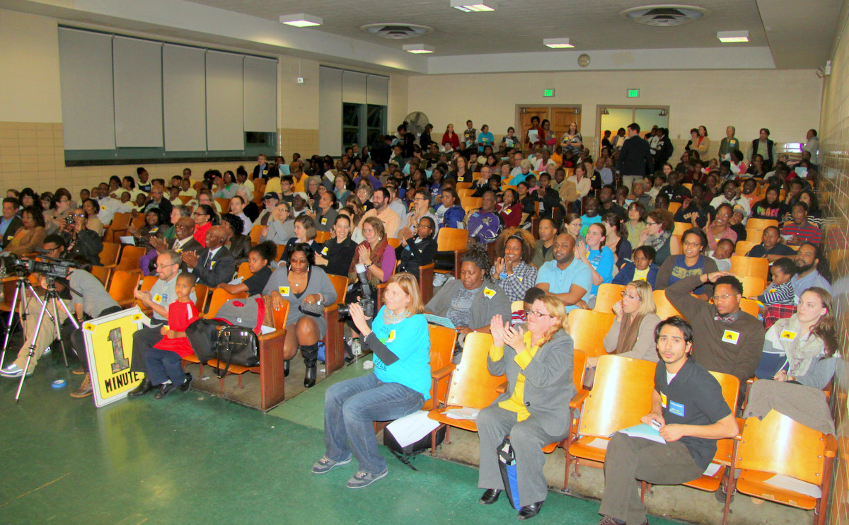 A crowd at Barclay Elemenatry School rallied for a city school construction plan that is not