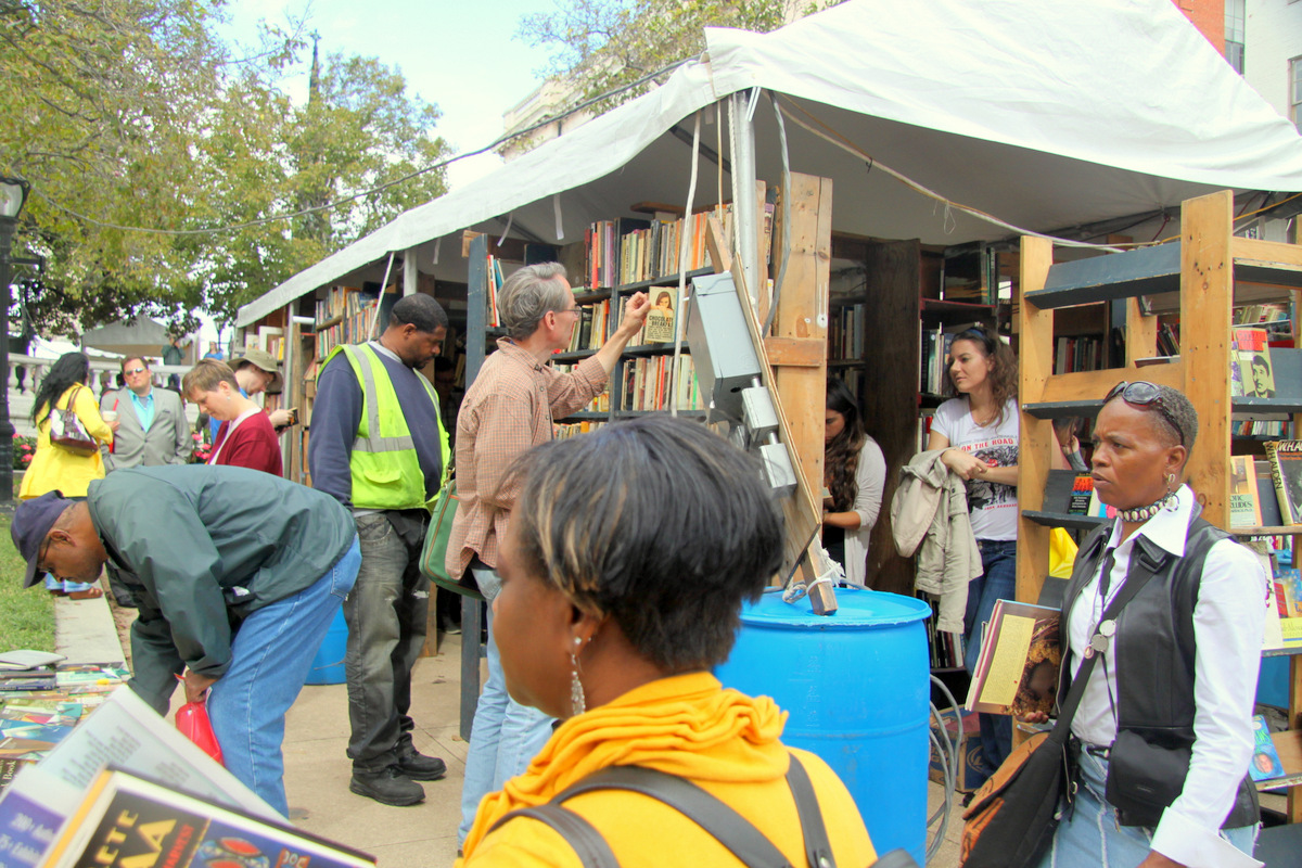 A scene from this year's Baltimore Book Festival. (Photo by Fern Shen)