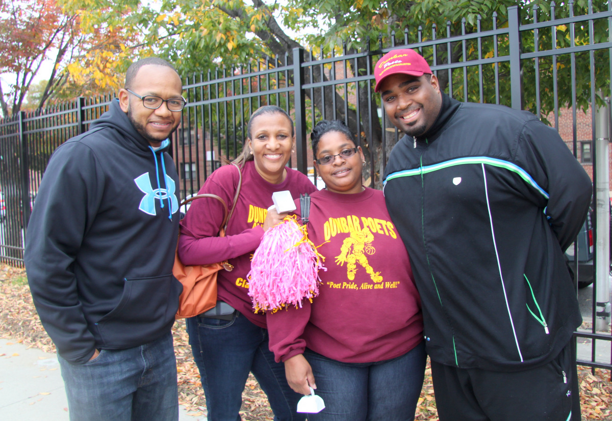 Proud alums: Dwayne Pate, Michelle Whitfield, Stacey Lyles-Foster and Antoine Colvin. (Photo by Fern Shen)