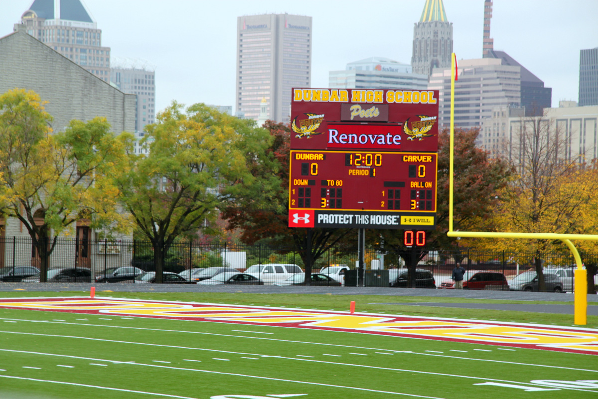 The new scoreboard, with downtown Baltimore in the background, was ready to go.