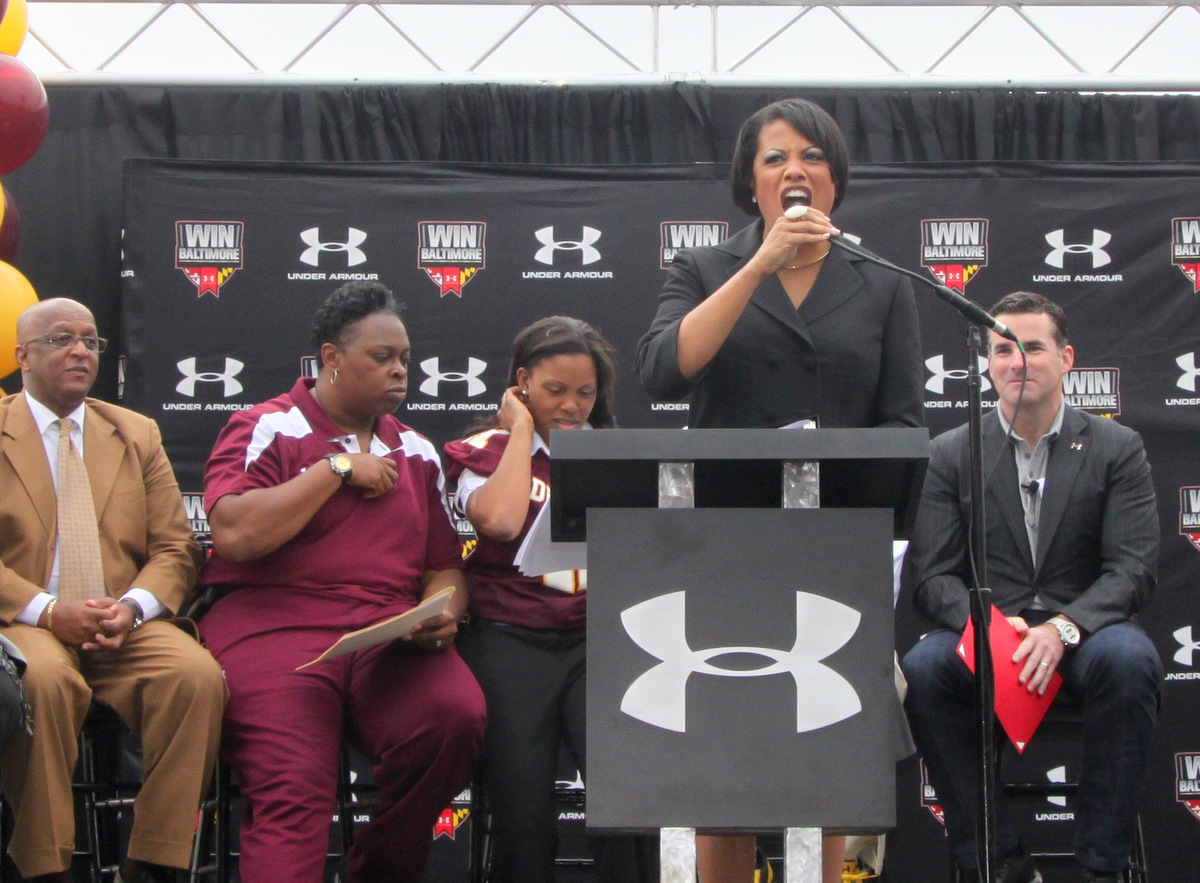 Mayor Rawlings-Blake thanked Under Armour for their increased philanthropy