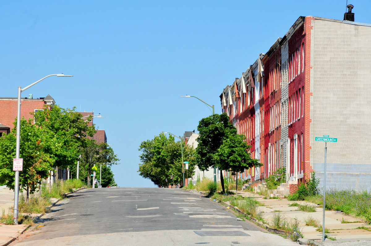 Greenmount Avenue which, as you go north, becomes York Road, one of Baltimore's starkest racial dividing lines. (Photo by Doug Birch)